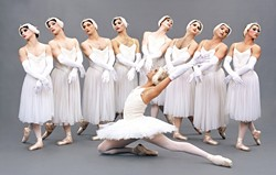 LES BALLETS TROCKADERO DE MONTE CARLO:  The Trocks, an all-male, cross-dressing, New York-based ballet troupe performed at Cal Poly's Performing Arts Center on Feb. 16. These dancing divas, whose talent as artists is rivaled only by their penchant for comedy, have challenged conventional notions of male dancers through more than 500 cities and 33 countries. Pictured above is the Trocks' rendition of Swan Lake. - PHOTO BY SASCHA VAUGHN
