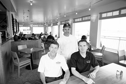 ON DECK :  (Left to right) Galley owner and general manager David Peter, head chef Henry Galvez, and manager John Anderson work to serve up quality dishes for Morro Bay tourists and locals alike. - PHOTO BY STEVE E. MILLER