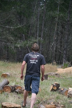 INTO THE WOODS :  Forest inventory specialist Don Applegate led the way through a Cambria pine forest where Monterey pines suffer due to the presence of the burrowing red turpentine beetle. - PHOTO BY JESSE ACOSTA