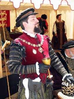 EARL IN THE HEAT :  Rydell Downward portrays the Earl of Leicester at the Central Coast Renaissance Festival. Many of the event's organizers say they used to play nobles, but turned to peasant costumes because they're more comfortable in the heat.
