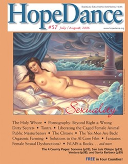 COVER GIRL :  The July/August 2006 edition of Bob Banners HopeDance, featuring a painting by Mark Bryan, created a stir in the county especially the libraries about what is and is not appropriate when it comes to bare skin. - IMAGE COURTESY OF BOB BANNER