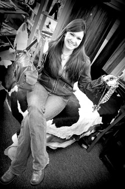 IN THE BALANCE :  Kristina Spitale, owner of Crazy Cowgirl Jewelry, juggles quite a few roles. - PHOTO BY KYLIE MENDONCA