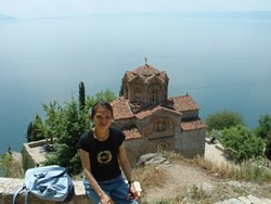 BEING THERE :  Mei-Ling Liu visited the St. Jovan Church at Kaneo, Ohrid. The church was featured in the Macedonian film Before the Rain.