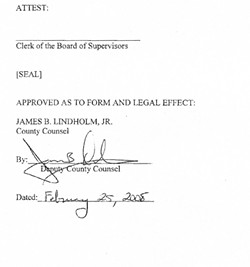 SHOW ME A SIGN :  Former county counsel James Lindholm's signature on this resolution is dated nearly a month after his death.