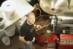 BEAN TOASTIN' :  Joseph Gerardis of Joebella Coffee Roasters roasts coffee beans from his Atascadero workspace.