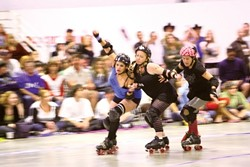These pictures are from Central Coast Roller Derby's last season and recent practices. - PHOTO BY STEVE E. MILLER
