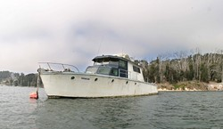 SEIZE THE BAY:  A Fish and Game warden used this boat as an example of why illegally moored vessels in Windy Cove create an environmental hazard: This boat, he said, needs to have leaking seawater pumped out once a week, or it could sink, creating major a fuel spill. - CHRISTOPHER GARDNER