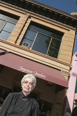 """LIKE A ROCK :  Jorgensen Jewelers opened in San Luis Obispo in 1959, and current owner Nina Chapman acquired the business from her sister and brother-in-law in 1970. """"The product we carry has changed some,� Chapman said, """"but jewelry is jewelry."""" - PHOTO BY CHRISTOPHER GARDNER"""
