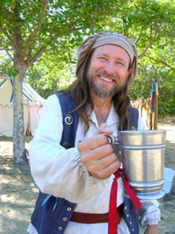 CHEERS :  Michael Teubner plays the character of Winston Waters, a former sailor who sings and interacts with visitors to the Central Coast Renaissance Festival.