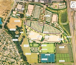 ON THE MAP :  The proposed development includes tournament-sized soccer fields, a bike trail, and a seven-day-a-week farmers market. Some opponents have argued that the land could still be farmed. - RENDERING COURTESY OF ERNIE DALIDIO