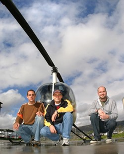 HELI-COOL!: - The pros behind the Heli-bros, Roland Ausdenblatten, RenÈ Johl, and Gegor Milewski, are teaching folks in SLO how to fly the funky skies. - PHOTO BY CHRISTOPHER GARDNER