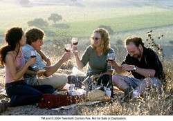 """DRINK WITH ME :  Santa Barbara County wine country takes the spotlight in """"Sideways,� nominated for seven Golden Globe awards. (left to right: Sandra Oh as Stephanie, Thomas Haden Church as Jack, Virginia Madsen as Maya, and Paul Giamatti as Miles). - IMDB"""