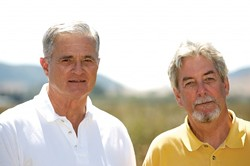 QUITE A PAIR :  Ernie Dalidio (left) and architect Vic Montgomery (right) hope to sway voters to their goal with an organic farm and landscaping with 650 trees alongside native plants and grasses. - PHOTO BY JESSE ACOSTA