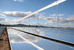 THE WAY IT IS :  Ausra's solar facility in Australia makes use of the solar thermal technology planned for the Carrizo Energy Solar Facility. The process reflects solar energy onto water-filled tubes. When the water boils, it turns a turbine to create electricity.