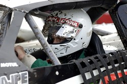 MUD IN YER EYE:  Santa Maria Speedways dirt track does not just take special skills to drive in. Many drivers also cover their visors in peel-off plastic strips in case the mud gets too bad. - PHIL KLEIN