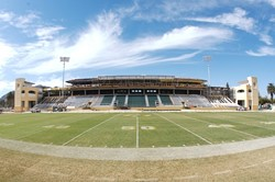 REBUILT :  The university plans to dedicate the newly renamed Spanos Stadium prior to the season finale against Savannah State on Nov. 18. The naming rights went to alumnus Alex Spanos, who last year gave $8 million to kickstart the $21.5-million expansion of the old facility. - PHOTO BY JESSE ACOSTA
