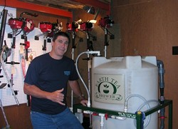THE BREWMEISTER:  George Schnackenberg, one of the owners of Agri-Turf Supplies in Santa Barbara, has been perfecting his compost-tea program for the past five years. - SURFMEDIA COMMUNICATIONS