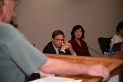 ON CALL :  Atascadero City Attorney Patrick Enright—pictured here with City Clerk Marcia Torgerson—listened as local activist David Broadwater accused the city  of Brown Act violations on June 27. - PHOTO BY JESSE ACOSTA