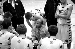 FACING FORWARD :  First-year Royal coach Darren Harris is not into talking about Tom Mott or last years recruiting scandal. With the playoffs on the programs doorstep, he is preparing his kids for another title run. - PHOTO BY JESSE ACOSTA