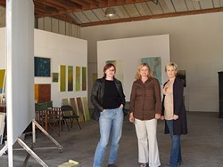 TRIPLE THREAT :  (left to right) Anne Stahl, Carol Paquet, and Xenia Madison are the creative inhabitants of CorkStop Studio, a new exhibit and working space in Corbett Canyon. - PHOTO BY ASHLEY SCHWELLENBACH