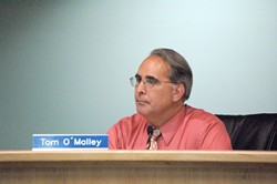 UNDER FIRE :  Atascadero Mayor Tom O'Malley listens to complaints and concerns of an irate constituency at the City Council meeting May 23. - PHOTO BY NICK COURY