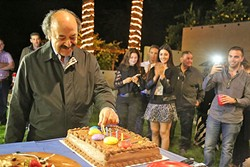 CUT THE CAKE:  Katcho Achadjian missed the mark in the primaries, but he at least got to celebrate his June 2 birthday at his election night party. - PHOTO BY DYLAN HONEA-BAUMANN