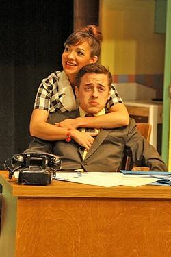 OH, TO BE AN ENGLISH TEACHER:  Rosie (Veronica Surber) reminds her boss/love interest Albert (Cameron Parker) that he really aspired to teach English, back before the music biz sucked him in. - PHOTO COURTESY OF DANIELLE DUTRO MCNAMARA PHOTORAPHY