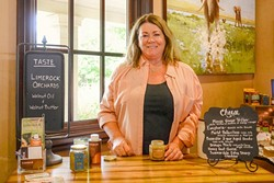 PURVEYOR OF WALNUT BLISS:  Deanne Gonzales, co-owner of Limerock Orchards, loves exposing folks to the wonders of her homegrown walnut oil and butter. - PHOTO COURTESY OF AMY JOSEPH