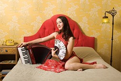 FRENCH, ENGLISH, AND CHINESE:  Multilingual chanteuse and accordion and toy-piano player Jessica Fichot returns to Steynberg Gallery on May 27. - PHOTO BY ANDY SHENG