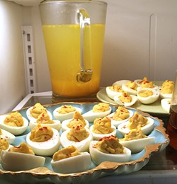 CLASSICS:  Deviled eggs and fresh-squeezed orange juice are old fashioned brunch staples that should not be messed with. - PHOTO BY HAYLEY THOMAS