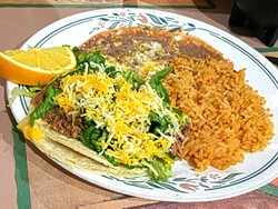 "PORTIONS BE DAMNED:  The ""mini taco combo"" with rice and beans at Las Cazuelas is anything but minuscule. Warning: No matter what you order, you will leave full. - PHOTO BY REID CAIN"