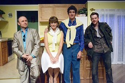 GO WEST:  Though the True West cast is small, they are a fierce ensemble. From left to right:  Producer Saul Kimmer (Tony Taylor), Mom (Sue Miers), and brothers Austin (Marcus DiMaggio) and Lee (Mike Fiore). - PHOTO COURTESY OF JAMIE FOSTER PHOTOGRAPHY