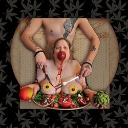 'SERVED UP':  In the run up to his double mastectomy surgery, RawfeyL created a series of images that bid farewell to 18 pounds of unwanted flesh. - IMAGE COURTESY OF RAWFEYL GENE BURGE