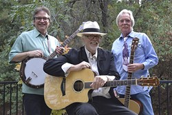 PICKERS UNITE :  Bluegrass fans will have a full Mother's Day weekend ahead at the Parkfield Bluegrass Festival May 5-8, in Parkfield, with headliners Crary, Evans, & Spurgin among a couple dozen other acts! - PHOTO COURTESY OF CRARY, EVANS, & SPURGIN