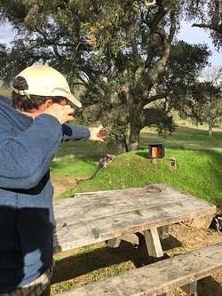 BULL'S EYE:  There's nothing like a slingshot to remind a man of his youth. - PHOTO BY GLEN STARKEY