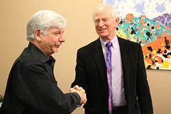 WELCOMING THE MAESTRO:  The Santa Maria Philharmonic Society President Jed Beebe (right) announces Michael Nowak (left) as the new music director and conductor for the orchestra at a press event on March 25. - PHOTO BY JOE PAYNE