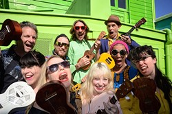 TWEE STRINGS:  On Jan. 29, the hilarious Wellington International Ukulele Orchestra plays the Cohan Center of the Performing Arts Center, covering pop classics with ukes. - PHOTO COURTESY OF THE WELLINGTON INTERNATIONAL UKULELE ORCHESTRA