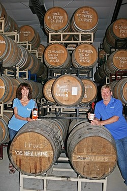 BARRELS FOR DAYS:  Lola and Steve Glossner may have started off their business with Paso Port, but the pair couldn't resist the allure of offering their own wine and brandy. - PHOTO BY HAYLEY THOMAS