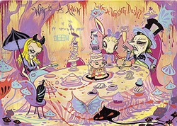 "TEA TIME:  The absurdities of the Mad Hatter's tea party are ever present in Garcia's gothic depiction, Tea Party Spread. The quote ""Why is a raven like a writing desk?"" is etched into the background in bright purple and orange letters. A punk rock Alice looks positively bored. - IMAGE COURTESY OF CAMILLE ROSE GARCIA"