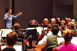 LEAD THE WAY:  Laura Jackson, the current music director of the Reno Philharmonic, conducts the San Luis Obispo Symphony during a rehearsal for its upcoming Classics in the Cohan concert on Feb. 6. - PHOTO COURTESY OF THE SAN LUIS OBISPO SYMPHONY