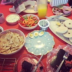 BLESS THIS MESS :  Picking at the food all day long has become a Broncos and Brunch tradition. Go Broncos! - PHOTO BY HAYLEY THOMAS