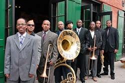 NOLA STYLE! :  Second line masters the Rebirth Brass Band close out the daylong SLO Jazz Festival at SLO's Mission Plaza on May 14. - PHOTO COURTESY OF THE REBIRTH BRASS BAND