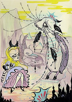 MOCKERY OF A TURTLE:  The light blue-striped Mock Turtle cries as he tells his tale of woe to an annoyed Alice in a flowing lavender steam-punk gown in A Mock Turtle's Story. Meanwhile the Gryphon naps peacefully in the background. - IMAGE COURTESY OF CAMILLE ROSE GARCIA