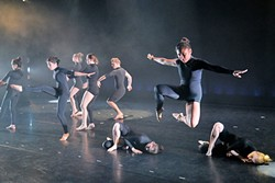 ROUND PEG, SQUARE WHOLE :  Militaristic movements are blended with flowing sequences in the rebellious feeling dance Jigsaw, choreographed by Cal Poly dance professor Diana Stanton. - PHOTO BY DYLAN HONEA-BAUMANN