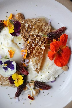 NOM NOM:  This photo of tantalizing honeycomb burrata by Chef Julie of Foremost makes the mouth water. - IMAGE COURTESY OF KENDRA ARONSON