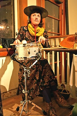 GONG :  Percussionist Rakka Down keeps the rhythm and punctuates the proceedings by tapping her cymbal hat. - PHOTO BY GLEN STARKEY
