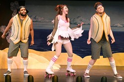 """CLAMTASTIC:  From left, Glen (Philip Bolton), Rita (Emily Chatterson), and Bivalve DeVoe (Toby Trooper) belt out a special version of Micheal Jackson's """"Man in the Mirror""""—hint: replace man with clam—in The Great American Melodrama's Under the Boardwalk. - PHOTO COURTESY OF THE MELODRAMA"""