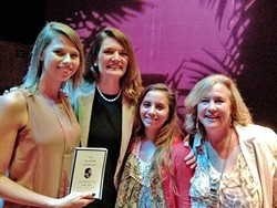 STARSTRUCK :  From left, New Times Marketing and Events Coordinator Dora Mountain, the amazing author Jeannette Walls, New Times Arts Editor Ryah Cooley (that's me!), and New Times Human Resources Manager Cindy Rucker pause for a photo-op at the Performing Arts Center in SLO on Sunday. - PHOTO COURTESY OF DORA MOUNTAIN