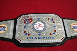 THE BIG BELT! :  Sorry, champ. You can't take the belt with you. It remains with your photo on the wall of Penny's All American Café. - PHOTO BY GLEN STARKEY