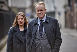 """HAUNTED :  Jackie """"Stevie"""" Stevenson (Nicola Walker) and John River (Stellan Skarsgård) star in River, a police drama with a psychological twist. - PHOTO COURTESY OF BBC ONE"""
